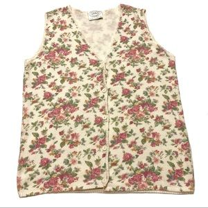 Erika Grandma Floral Cottage Sweater Vest